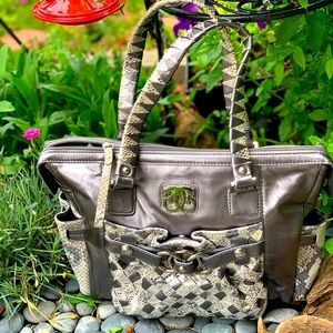 Original by Sharif 1827 leather & snakeskin tote